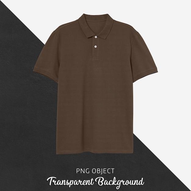 갈색 폴로 Tshirt 모형의 전면보기 프리미엄 PSD 파일