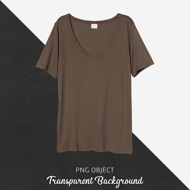 갈색 Tshirt 모형의 전면보기 프리미엄 PSD 파일