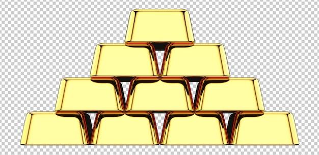 Вид спереди стека золотых слитков Premium Psd