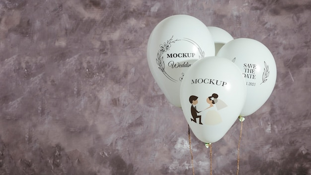 복사 공간 결혼식을위한 모형 풍선의 전면보기 무료 PSD 파일