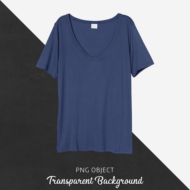 네이비 블루 티셔츠 모형의 전면보기 프리미엄 PSD 파일