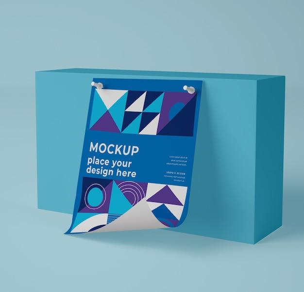 Вид спереди макета бумаги с геометрическим дизайном Бесплатные Psd