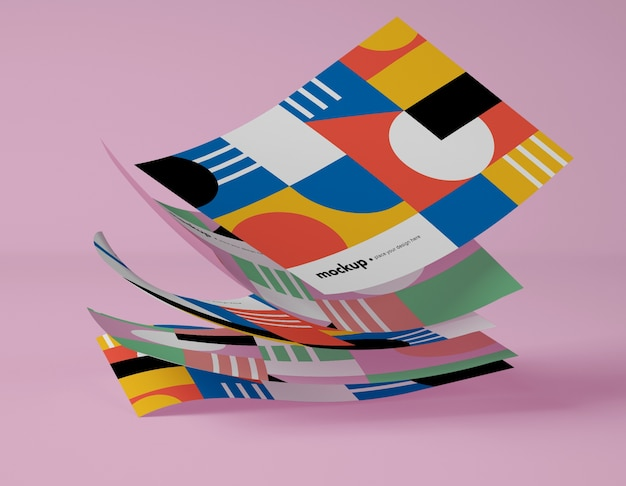 Вид спереди бумаг с разноцветными геометрическими фигурами Бесплатные Psd