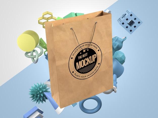 ショッピングバッグのモックアップの正面図 Premium Psd
