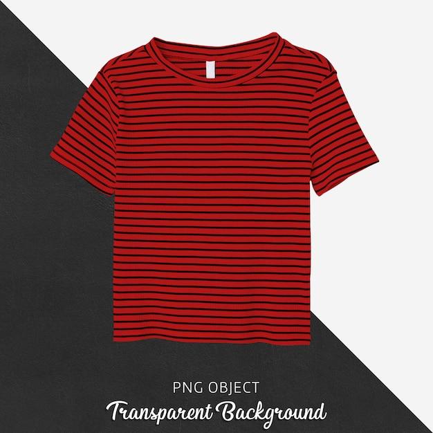 스트라이프 레드 티셔츠 모형의 전면보기 프리미엄 PSD 파일