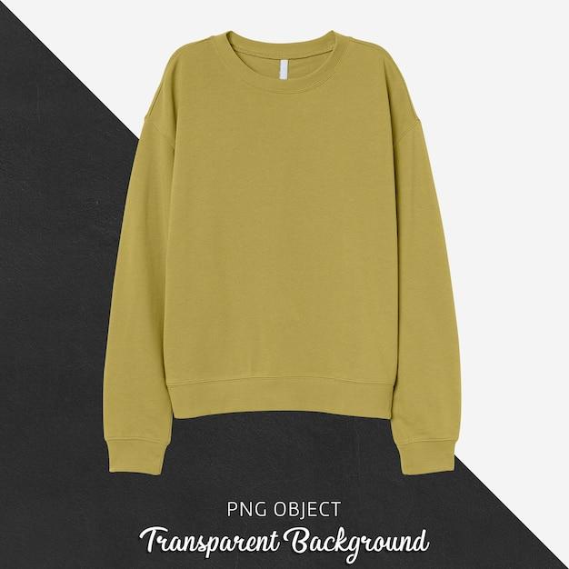 黄色の基本的なスウェットシャツのモックアップの正面図 Premium Psd