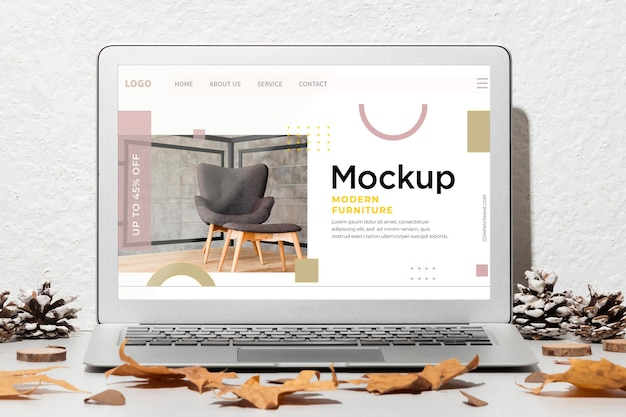 Front view opened laptop mockup on the table Free Psd