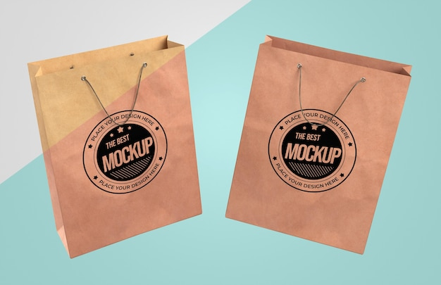 Front view of paper bags mock-up Premium Psd
