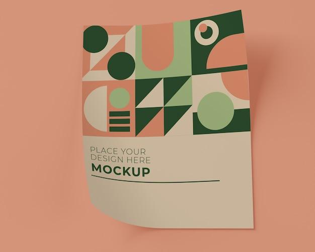 Vista frontale del mock-up di carta con forme geometriche Psd Gratuite
