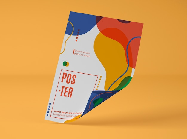 Front view of paper mock-up with multicolored shapes Free Psd