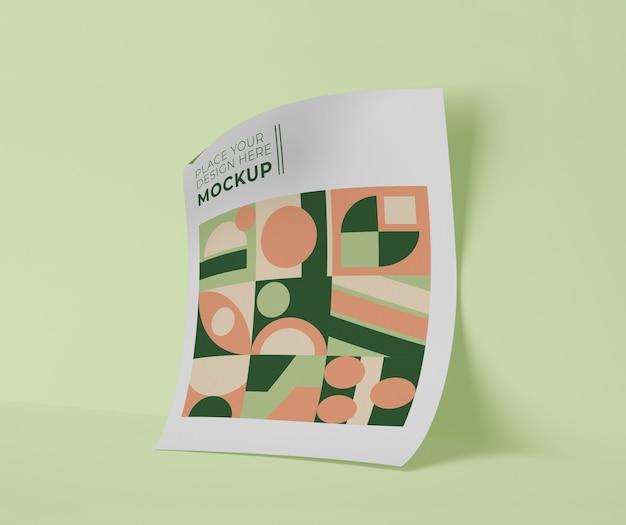 Vista frontale del foglio di carta con forme geometriche Psd Gratuite
