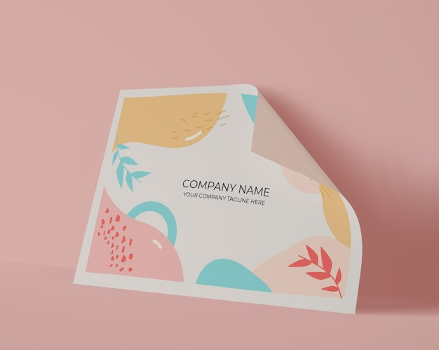 Front view of paper sheet with pastel colors Free Psd