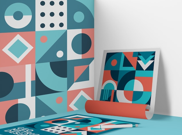 Front view of paper with geometric pattern Free Psd