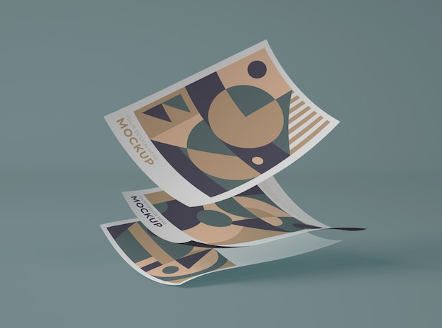 Front view of papers with geometric shapes Free Psd
