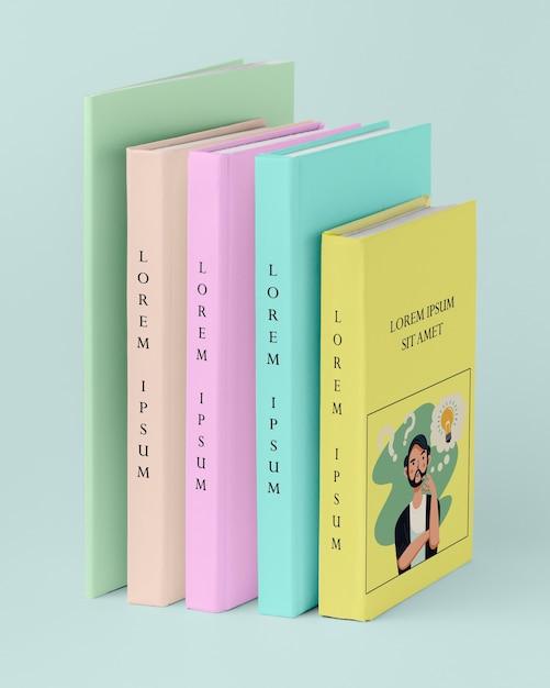 Вид спереди кучу разных книг макет Бесплатные Psd