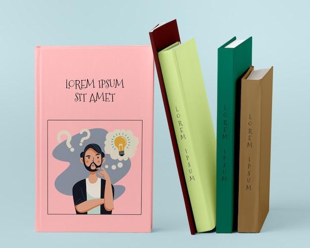 Вид спереди куча разных книг Бесплатные Psd