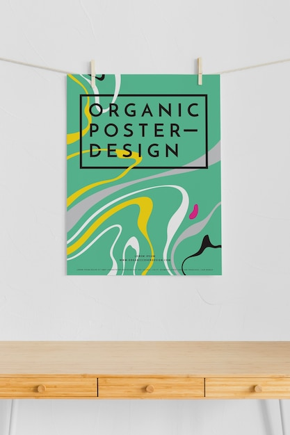 Front view of poster hanging with clothing pins Premium Psd