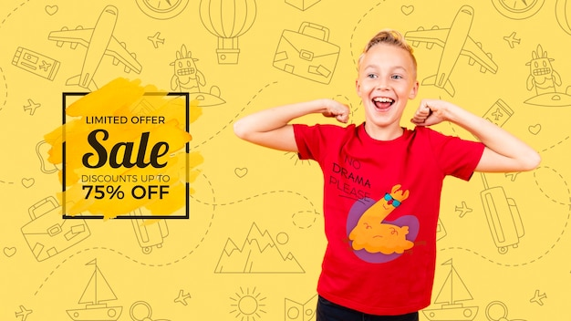 Front view of smiling child with sale Free Psd