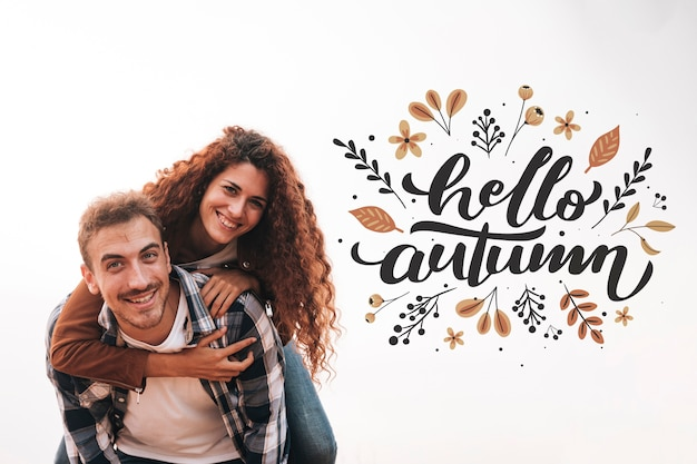 Front view of smiling couple looking at camera Free Psd
