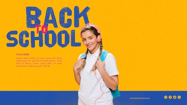 Front view smiling teenager gril with orange background Free Psd