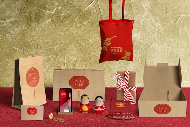 Front view special gift sales with wrapping paper and boxes Free Psd