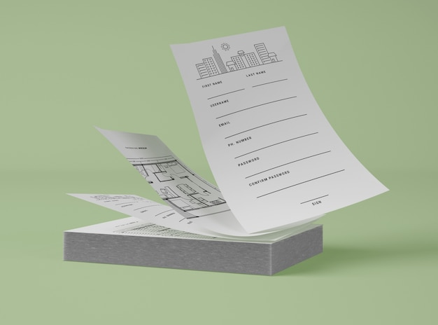 Front view of stack of papers Free Psd