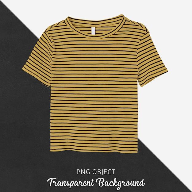 전면보기 스트라이프 노란색 티셔츠 모형 프리미엄 PSD 파일