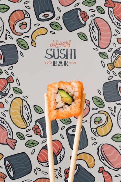 Front view of sushi and chopstick on colorful background Free Psd