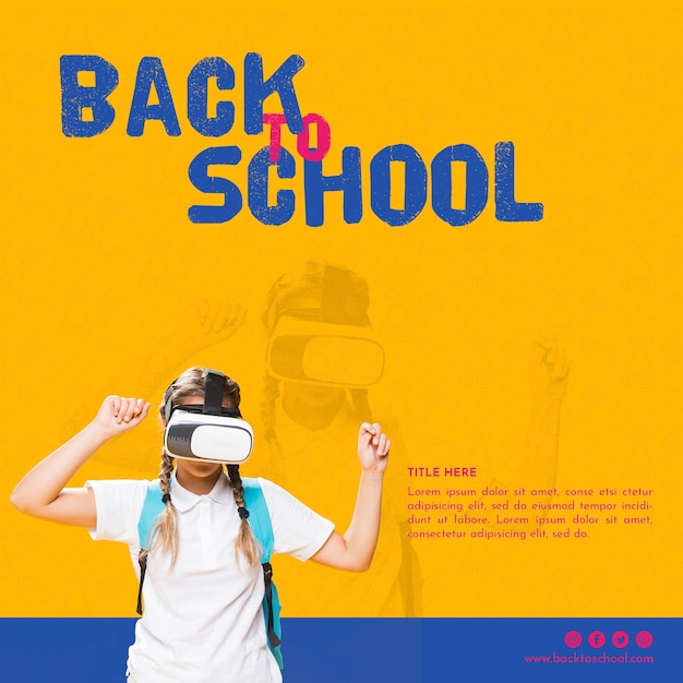 Front view teenager girl with virtual reality glasses Free Psd