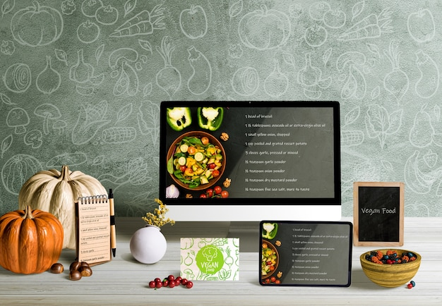 Front view of thanksgiving concept mock-up Free Psd