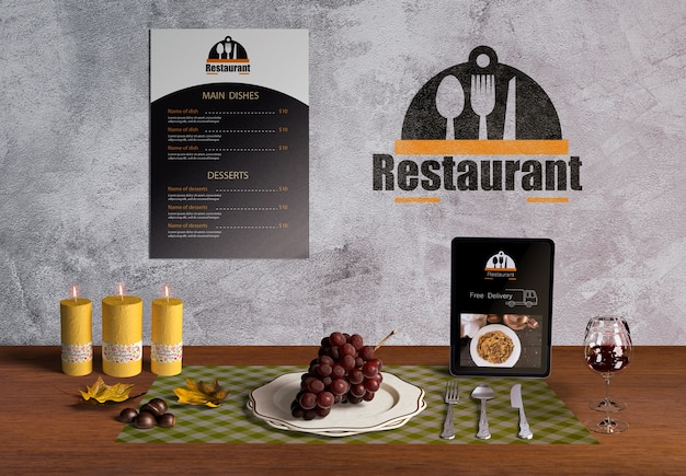 Front view of thanksgiving scene creator mock-up Free Psd
