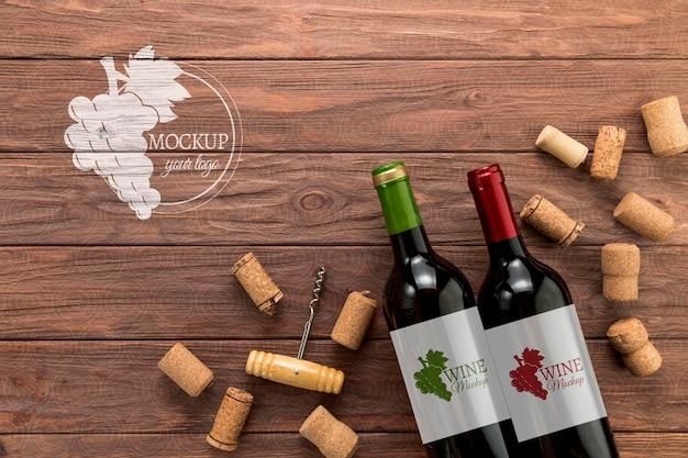 Bottiglie di vino di vista frontale con copia-spazio Psd Gratuite