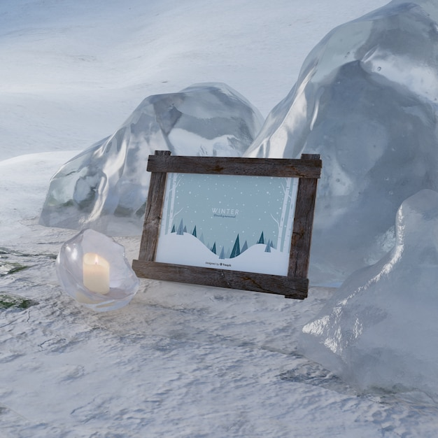 Frozen scene on winter with frame Free Psd
