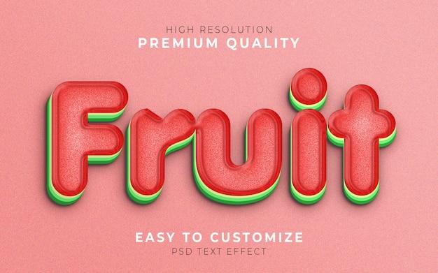Фруктовый 3d текстовый стиль эффекта шаблон арбуз Premium Psd
