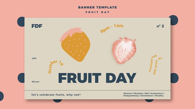 Fruit day banner with illustrations Free Psd