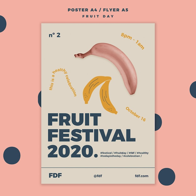Fruit day flyer template with illustrated fruits Free Psd