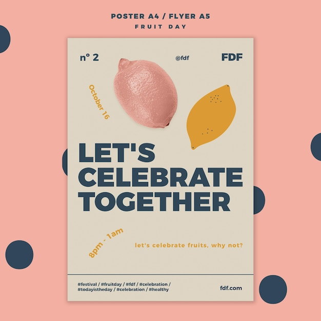 Fruit day flyer with illustrations Free Psd
