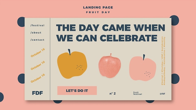 Fruit day landing page with illustration Free Psd