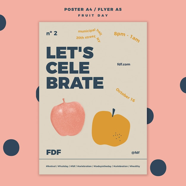 Fruit day poster template with illustrations Free Psd