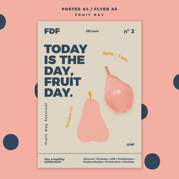 Fruit day poster with illustrations Free Psd