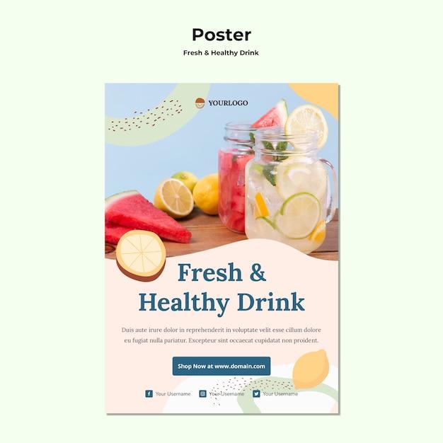 Шаблон плаката фруктовый сок Бесплатные Psd