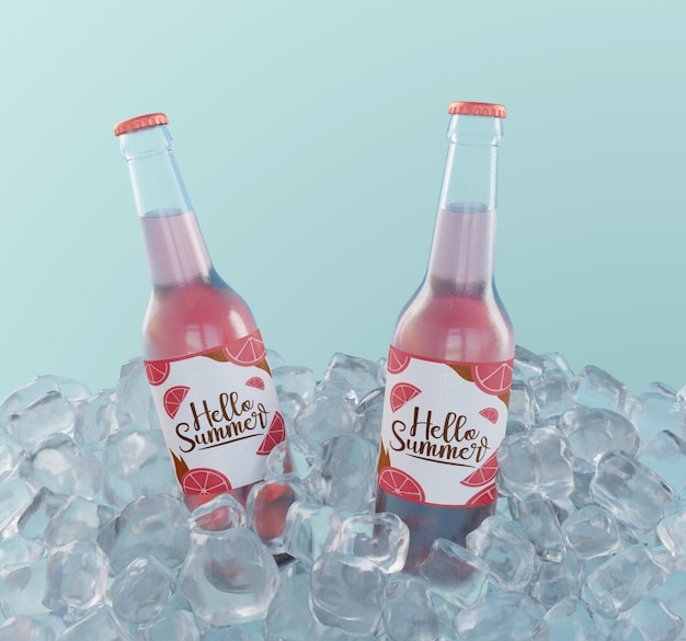 Fruit soda bottles with ice cubes Free Psd