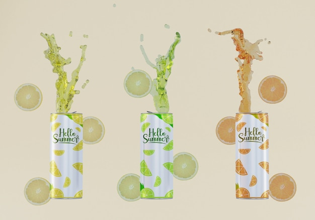 Fruit soda cans with beige background Free Psd