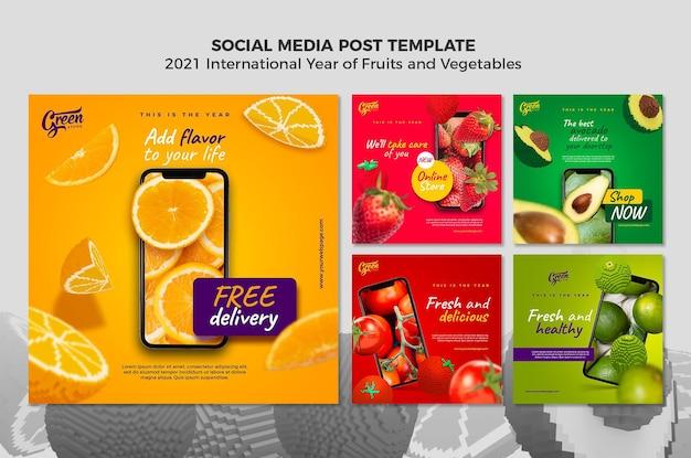 Шаблон постов в instagram с фруктами и овощами Бесплатные Psd