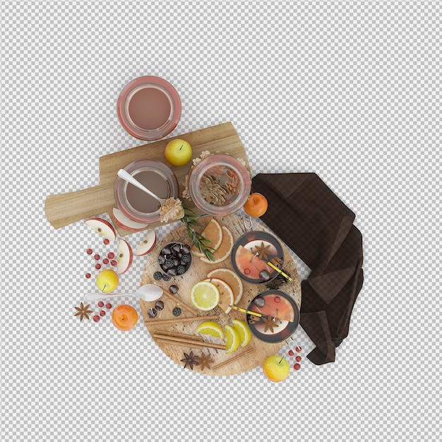 Fruits on cutting board and honey 3d render Premium Psd