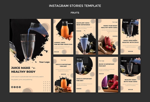 Modello di storie di instagram di frutta Psd Gratuite