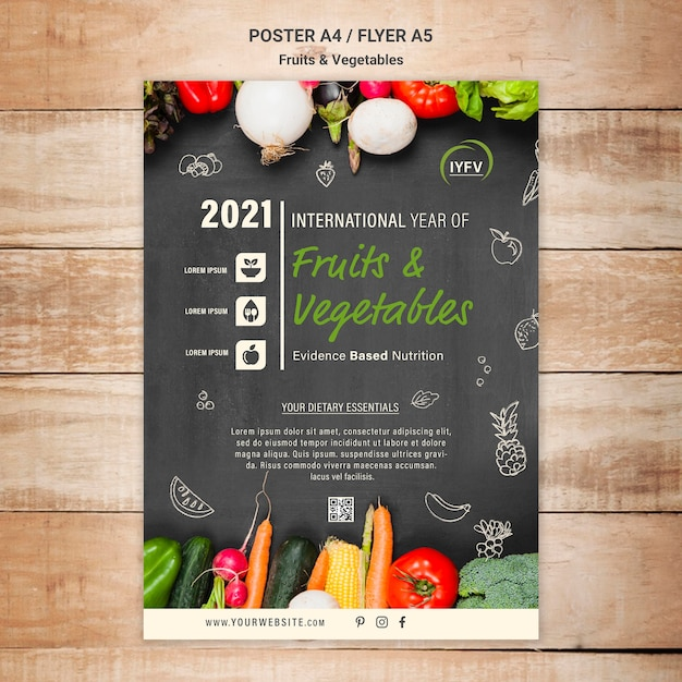 Fruits and vegetables year flyer template Free Psd