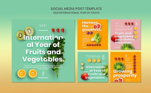 Modello di post instagram anno di frutta e verdura Psd Gratuite