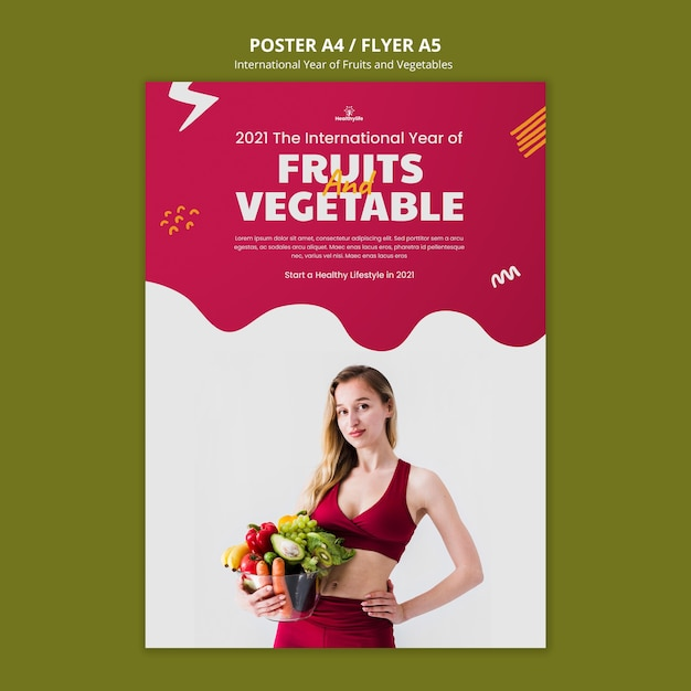 Fruits and vegetables year poster template Free Psd
