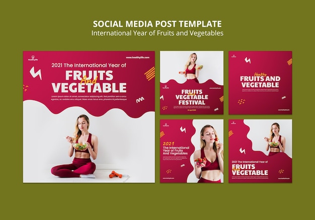 Fruits and vegetables year social media posts Free Psd
